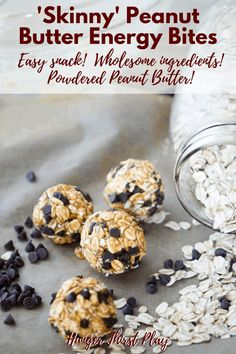 Low calorie powdered peanut butter with hearty oats, raw honey and mini chocolate chips. #healthysnacks #powderedpeanutbutter #energybites #esysnacks
