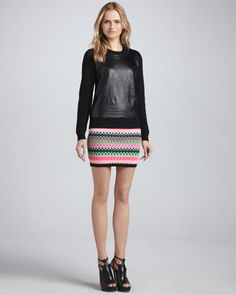 Leather-Front Sweater & Reversible Kuji Knit Skirt by MILLY at Neiman Marcus.