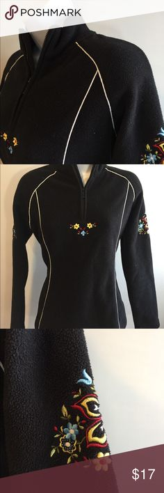 """Hanna Andersson Embroidered Black Floral Fleece S Excellent!  Top is vintage  Bust 42"""" Sleeve 27"""" Length 24"""" Hanna Andersson Tops"""