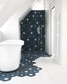 Amazing design by with hexagonal and plain in colours BF and B. We… - Diy Badezimmer Bathroom star! Amazing design by with hexagonal and plain in colours BF and B. We… - Diy Badezimmer Bad Inspiration, Bathroom Inspiration, Bathroom Ideas, Design Bathroom, Attic Bathroom, Small Bathroom, Bathroom Renovations, Bathroom Wall, Attic Shower