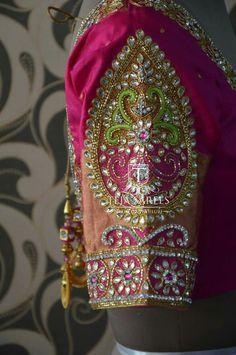 Choli Blouse Design, Pattu Saree Blouse Designs, Hand Work Design, Hand Work Blouse Design, Best Blouse Designs, Bridal Blouse Designs, Pink Saree Blouse, Blouse Neck, Salwar Neck Designs