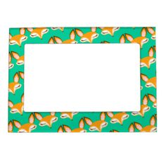 Cute and stylish pattern of foxes on a fun magnetic frame - a truly unique gift idea! Click CUSTOMIZE to change background color or to add your own text. #cute #fox #foxes #pattern #magnetic #frame #gift #for #her #girly #feminine #green #pretty #kawaii #foxy #tween #teen #magnet #picture #frame #vector #illustration #orange #mint #teal