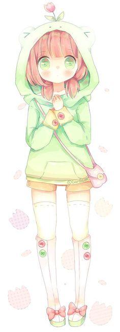 ✮ ANIME ART ✮ frog girl. . .frog hoodie. . .oversized sweatshirt. . .flower. . .purse. . .stockings. . .twin tails. . .big eyes. . .blushing. . .moe. . .cute. . .kawaii: