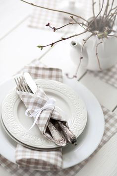 Cloth linen napkins - cloth tartan brown table napkins - Wedding table pastel brown white linen napkins set 6