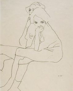Egon Schiele (Tulln 1890 – 1918 Vienna) - Two Seated Girls, 1911 Pencil on paper Marlborough Fine Art of London Figure Drawing, Line Drawing, Drawing Sketches, Painting & Drawing, Art Drawings, Disney Drawings, Gustav Klimt, Art And Illustration, Ligne Claire