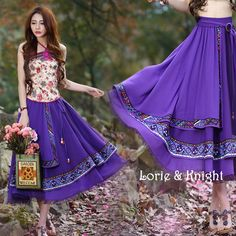 Female Ethnic Print Chiffon Full Circle Elastic Waist Boho Long Skirt PURPLE