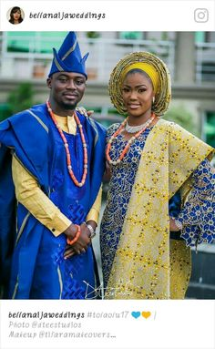 """""""Beautiful couple 💙💛💖 Make up by Aso oke by Events by Photo by @ dteestudios ________________________________________________ by Nigerian Wedding Dresses Traditional, Traditional Wedding Attire, African Traditional Wedding, African Traditional Dresses, African Men Fashion, African Wear, African Attire, African Fashion Dresses, African Dress"""