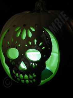 sugar skull pumpkin | Pumpkin Stencil - Sugar Skull - Carving, Crafts - Downloadable...love the green light instead of the normal orange glow