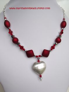 Red and silver heart necklace £12.00