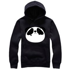 Black and white panda hoodie for girl fleece pullover
