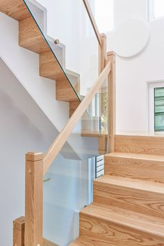 In a customer built self build house. Contemporary timber framed self build house, with timber cladding exterior and large glass windows. Building your own home. Timber Staircase, Modern Staircase, Staircase Design, Staircase Ideas, Build Your Own House, Build Your Dream Home, House Stairs, Facade House, Beautiful Modern Homes