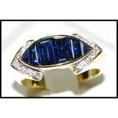 http://rubies.work/0280-sapphire-ring/ 18K Yellow Gold Genuine For Men Blue Sapphire Ring by BKGjewels