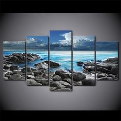 "Purchase this amazing 5 Panel ""The Soundless Seaside"" Canvas Painting and we will ship the item for free. This is the perfect centerpiece for your home. 3 Piece Canvas Art, Canvas Artwork, Canvas Frame, Canvas Wall Art, Wall Art Prints, Canvas Prints, Ocean Pictures, Wall Art Pictures, Canvas Pictures"