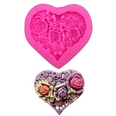 Heart Shaped Embossed Flowers Silicone Mold