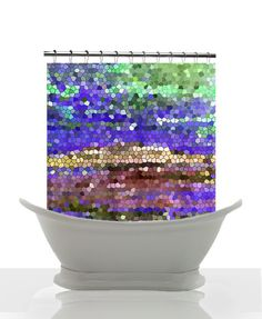 Artistic Mosaic Shower Curtain  Indigo blue by ArtfullyFeathered, $60.00