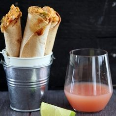 Truly a Mexican feast with baked chicken taquitos and spicy guava-jalapeño margaritas. Bring it on spring.