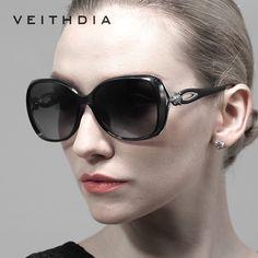 VEITHDIA Retro Señoras De Lujo Diseñador de Las Mujeres gafas de Sol TR90 gafas de Sol Polarizadas de Conducción Gafas gafas de sol feminino 7022
