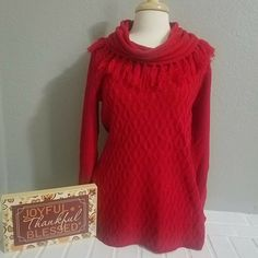 Red Orange Fleece Lined Wool Cardigan Warm Winter Sweater Jacket Striped Hoodie