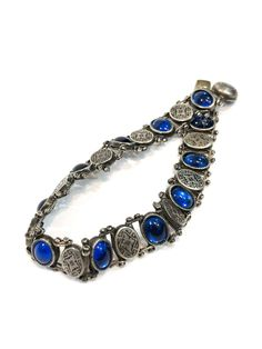 Edwardian Sterling Bracelet w/Blue Glass Gemstone Edwardian Jewelry, Edwardian Era, Art Nouveau, Glass Gemstone, Vintage Gardening, Blue Gemstones, Arts And Crafts Movement, Link Bracelets, Antiques