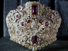 Magnificent Spinel, ruby, and diamond parure tiara, formerly in the collection of the Princes of Bavaria.