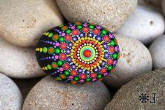 Mandala Stone hand painted Rock Decor Natural Sea Stone