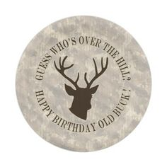 Funny Hunting Guess Whos Over The Hill Old Buck HB 7 Inch Paper Plate This funny guess whos over the hill happy birthday party hunting sports design features a buck antlers in brown and tan and makes a great mens sport gift for a hunter, hunting guide, sportsman or outdoors man. #funny #birthday #party #hunting #oldbuck #gift