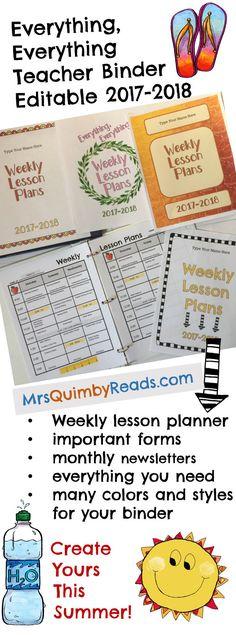Editable Teacher Binder, Updates for Life, Teaching Resources, Weekly Planner