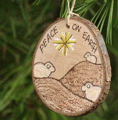 Peace On Earth Sheep Ornament Natural Wood Burned