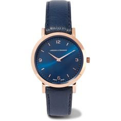 Larsson & Jennings Lugano leather and rose gold-plated watch ($295) ❤ liked on Polyvore featuring jewelry, watches, midnight blue, dial watches, leather wrist watch, water resistant watches, leather watches and leather jewelry