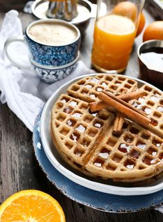 Vegan and Gluten Free Chai Waffles are the most delicious and easy breakfast. These are dairy-free and made with a wonderful blend of chai spices, including cinnamon, ginger, cardamom, nutmeg and cloves. These waffles are healthy and wholesome made from oat flour, walnut butter and coconut milk. They are so much better than any store-bought mix! via @thevegan8