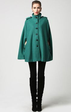 Teal Cape Coat Turquoise Winter Poncho with Pockets by xiaolizi