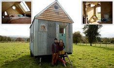 Using recycled materials and their own skills, Christian Montez, 29, and Kyra Powell, 28, constructed the rural retreat, pictured, on the outskirts of Hereford.