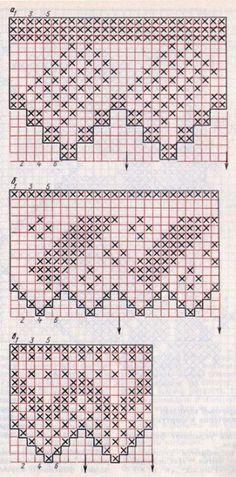 3 схемы для вязания крючком филейного кружева с зубцами в народном стиле бесплатно