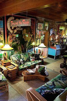 Tiki Room from Pinup photo shoot with model Yasmina Greco. - I mean if you are going to have a tiki bar. Vintage Tiki, Vintage Room, Vintage Decor, Quirky Decor, Retro Home Decor, Cafe Bar, Tiki Bar Decor, Tiki Art, Tiki Tiki