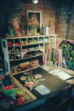 Katie Daisy's work space- just lovely!
