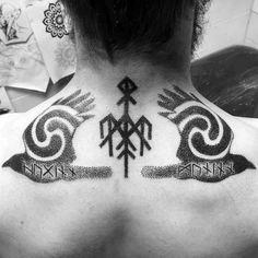 Mens Manly Odins Ravens Tattoo Designs