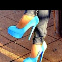 Love the aqua blue heels