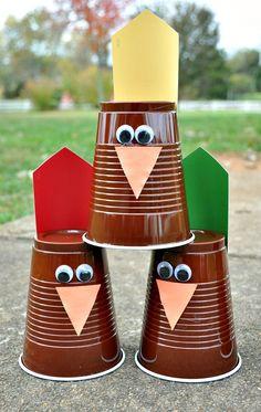 DIY Turkey Bowling game for kids