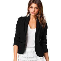 fb043fe2a682 Women Blazer Suit Autumn Casual Button Slim Work Office Short Blazer  Jacketuotelab