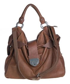 This Bellini Dark Brown Leather Shoulder Bag by Bellini is perfect! #zulilyfinds