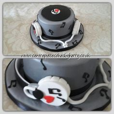 Record cake with fondant headphones, perfect for anyone who loves their music!
