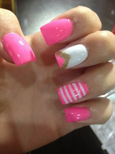 The nail with white....pink & gold chevron