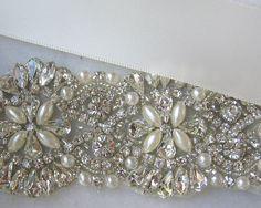 Pale Ivory Crystal Rhinestone & Pearl Bridal by TheRedMagnolia Pearl Bridal, Bridal Sash, Cream Wedding, Crystal Rhinestone, Embellishments, Glass Beads, Ivory, Sparkle, Pearls
