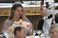 Princess Madeleine of Sweden with her brother in law Prince Daniel of Sweden at the wedding of her brother Prince Carl-Philip of Sweden to Sofia Hellsquist, June 2015
