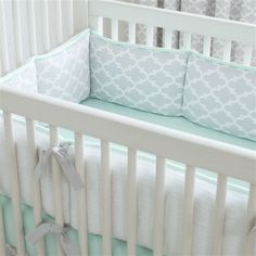 French Gray and Mint Quatrefoil Crib Bumper | Carousel Designs