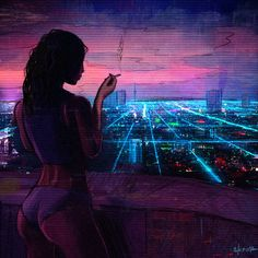Neon City, Anton Skeor on ArtStation at https://www.artstation.com/artwork/y4vBQ
