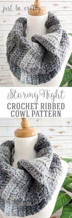 Stormy Night Crochet Cowl Pattern    Free Crochet Pattern - super easy crochet pattern!   Just Be Crafty