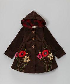 Brown Flower Corduroy Hooded Swing Coat