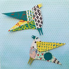 How To Make A Whimsical Collaged Bird Cloth Paper Scissors - Try Out Clare Youngs Technique For Making A Wonderful Collaged Bird These Whimsical Articulated Creatures Are Made With Hand Painted Papers And The Process Of Creating Painted And Stamped Patt # Collage Making, Collage Art, Paper Art, Paper Crafts, Painted Paper, Hand Painted, Cloth Paper Scissors, Young Art, Paper Birds