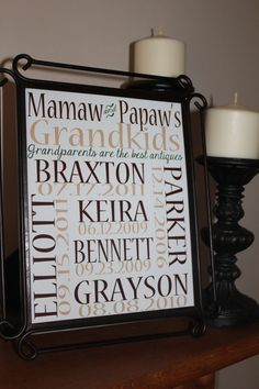 Grandparents Personalized 8x10 Wall Art Print by StampedCupcake, $17.00